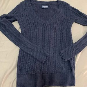 American Eagle V Neck Blue Sweater